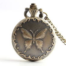 10pcs Middle Size Retro Bronze Butterfly Pocket Watch Free Shipping 2017 New Style  Necklace Pendant Watch
