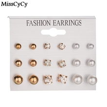 MissCyCy New 9 Pairs/lot Crystal Pearl Stud Earrings Piercing Gold Color 2016 Fashion Earrings For Women Bijoux Jewelry Brincos