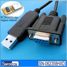 Sinforcon Android Win7 8 10 pl2303hxd usb rs232 db9 female adapter cable usb null modem