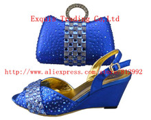 2014 New Arrival BY DHL!royal blue Shoes and Bag, Italian design Shoes and Bag, with many shine stone, match dress 38-43 W336