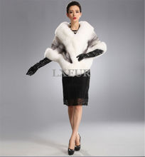 Luxurious Womens Import Mink Fur Ponchoes with Fox Fur Collar Natural Mink Fur Pashmina Elegant Bride Wedding Shawl LX00401