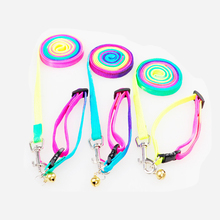 Adjustable Pet Dog collar harness Small Cat Rabbit Nylon Lead breast-band Leash Rainbow color collar for dogs