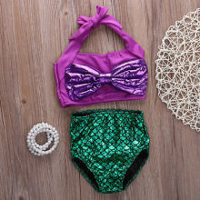 2pcs Baby Girls Swimsuit Kids Cute Mermaid Bow Belt Swimmable Bikini+Understand Swimwear Swimsuit Swimming Costumes(China)