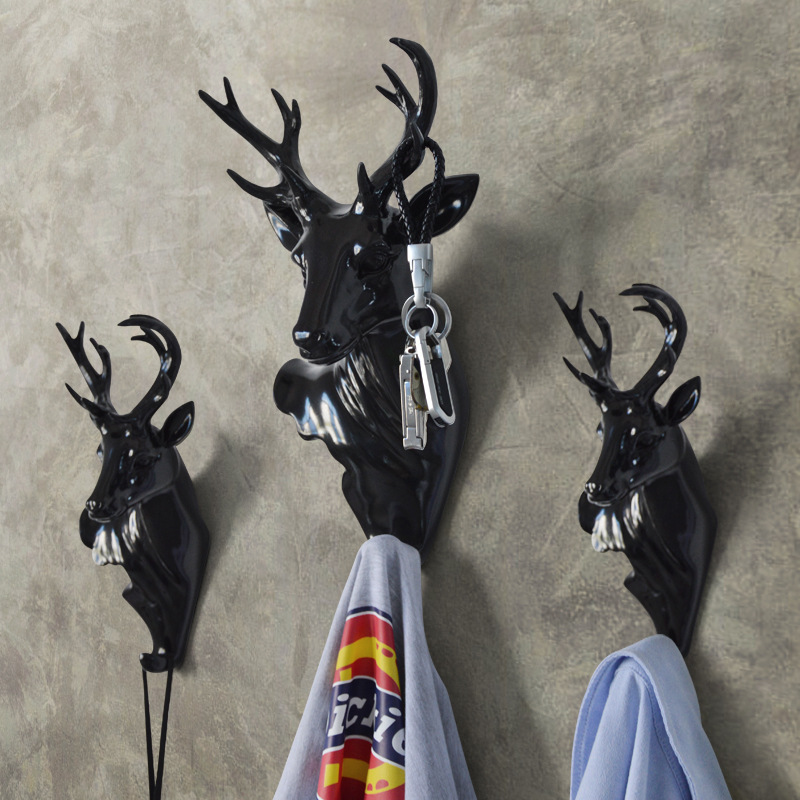 Single Hook European Creative Decorative Animal Hat Hooks Deer Wall Mural Wall Coat Rack Home Furniture<br>