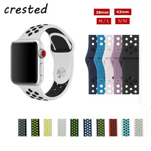 CRESTED sport Silicone watch strap for apple watch band 42mm 38 mm bracelet watch band For iwatch 3/2/1 replacement watchband(China)