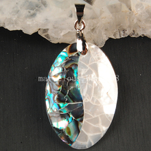 Free Shipping Beautiful jewelry  20x30mm New Zealand Abalone Shell Oval Pendant Bead MC3591