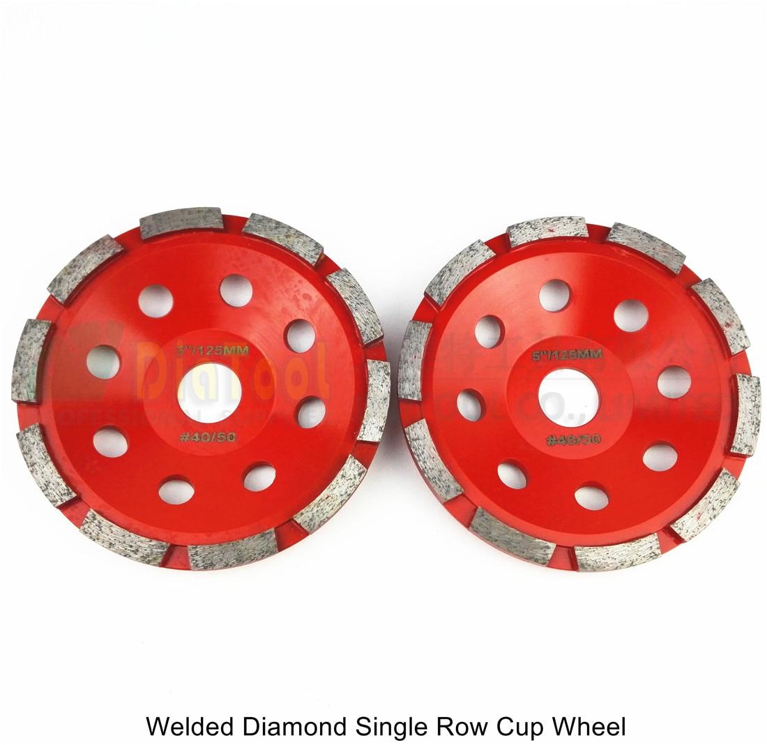 DIATOOL 2pcs 5inch Diamond Single Row Grinding Cup Wheel, For Concrete Masonry, Diamond Cup Wheel Bore 22.23mm Grinding Disc<br>