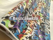 Graffiti Vinyl stickerbomb Vinyl Car Wrap Film graphic decal with air release Printed Vinyl PROTWRAPS size 5x98ft/Roll(China)