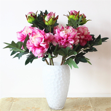 2 heads Autumn Fake Silk Flowers Artificial peony Wedding Party Home Floral Flower Arrangement Peony Wedding Decoration(China)