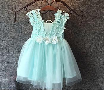 mint/pink/white,baby girls three flowers lace shoulder dress, kids pretty summer dress,LHQ01 kids clothes free shipping<br><br>Aliexpress