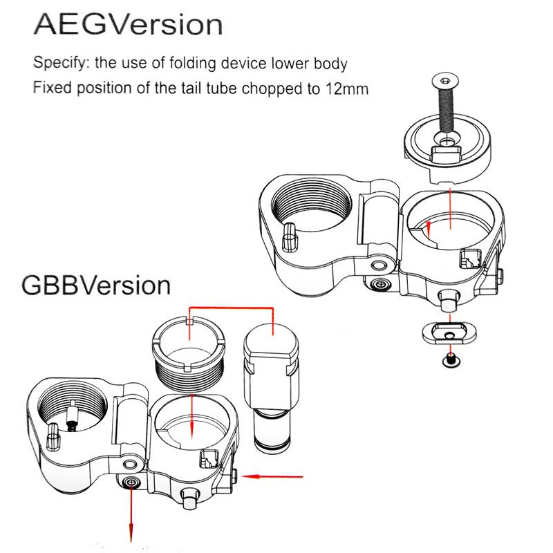AR Folding Stock Adapter For M16M4 SR25 Series GBB(AEG) RL2-0042-09