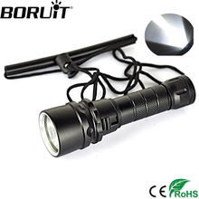 Boruit 2000Lm Scuba Diving Underwater 80M Flashlight XML T6 LED Waterproof Outdoor Torch Flash Light By 18650 Portable Lantern(China)