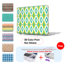 Print Green Ikat Diamond Pattern Air 13 11.6 Hard Crystal Clear Case For Macbook Pro Retina 13.3 15 Cover For Mac book 12 Inch