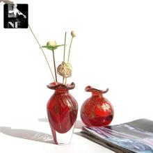 Export red trumpet Mini Glass Vase Home Furnishing decoration small ornaments oil bottle perfume bottle without fire(China)