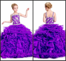 Purple Pageant Dresses Organza Spaghetti Straps Long Custom Color And Size Flower Girl Dress Cheap Price Fast Ship DE00995