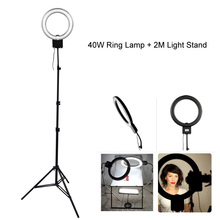 Studio 40W 5400K Daylight Fluorescent Diva Ring Lamp Light with 2M 200cm Tripod Stand fr Photography Video Photo Lighting Selfie(China)