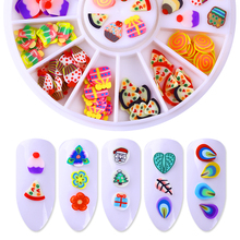 Polymer Clay Tiny Fimo Fruit Slices 3D Nail Decoration 12 Patterns DIY Designs Nail Art Decorations in Wheel(China)