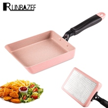 Runbazef Aluminium Alloy Nonstick Flat Pan  with Copper Ceramic Coating and Induction 18.5cm Square Cooking Smokeless