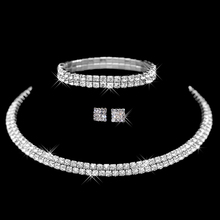 Wedding Jewelry Sets Wedding Accessories for women Hot Selling Rhinestone Crystal Choker Necklace Earrings and Bracelet