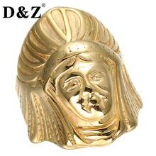 D&Z Vintage Iced Out Men Egypt Cleopatra Ring Gold Color Stainless Steel Pharaoh Rings for Men Jewelry(China)
