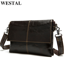 WESTAL Messenger Bag Men Leather Shoulder Crossbody Bags Fashion Ipad Small Flap Genuine Leather Men Bags Men's Shoulder Bags(China)