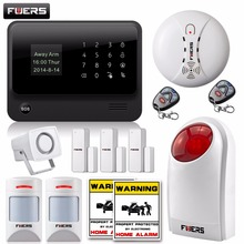 FUERS WiFi GSM SMS Home Alarm System Security Alarm+New wireless pet-friendly pir motion detector+waterproof strobe siren(China)