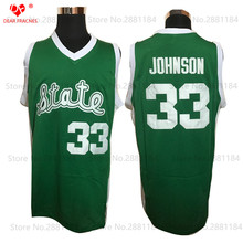 2017 Top Men Magic Earvin Johnson Throwback Basketball Jerseys #33 State College Basketball Jersey Stitched Shirts Green for Men
