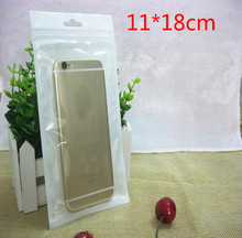 100pcs/lot 11cm*18cm White/Clear Self Seal Reclosable Zipper Plastic Retail Packaging Bag Hang Hole for iphone 7 6s 5s case(China)