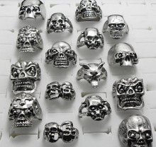 10pcs Men's Big Skull Rings Metal Skeleton Gothic Biker Punk Rings Wholesale Fashion Jewelry Lots(China)