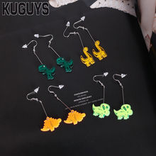 KUGUYS Fashion Acrylic Jewelry Custom Womens Interesting Drop Earrings Lovely Small Dinosaur 4 Style Dangle Earring Girl's Gift(China)