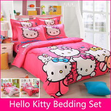Brand Logo Hello Kitty Bedding Set Children Cotton Bed sheets Hello Kitty Duvet Cover Sheet Pillowcase King/Queen/Twin 4Pcs BS35