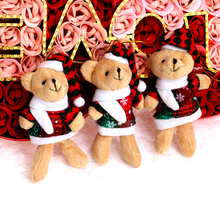 Snow Hat Dress Plush Toys Mini Small Soft OPP Christmas Man Key Chain Pendant Promotions Teddy Bear Toys(China)
