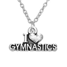 my shape Jewelry Zamak Antique Silver Plated Word I love Gymnastics Heart Pendant Necklace Wholesale Company