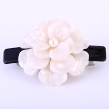 Buena Luxury white pink Blooming Flower Hair Jewelry Cellulose Acetate flower hair barrettes Pearl Barrette Perfect Gift SA028