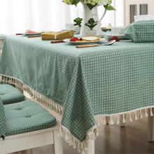 High Quality Japanese Fabric Table Cover Grid Stripe Little Tassel Tablecloth Foreign Trade Sit Room Tea Table Cloth Tablecloth