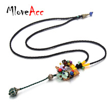 MloveAcc Vintage Brand Ethnic Wooden Pendant Necklace Handmade Stone Beads Long Necklace Wax Chain Collar Women Party Accessory(China)