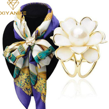 New Best Deal Fashion Good Quality Tricyclic Camellias Imitation Pearl Scarf Holder Scarf Brooch Clips Jewelry XY-E224