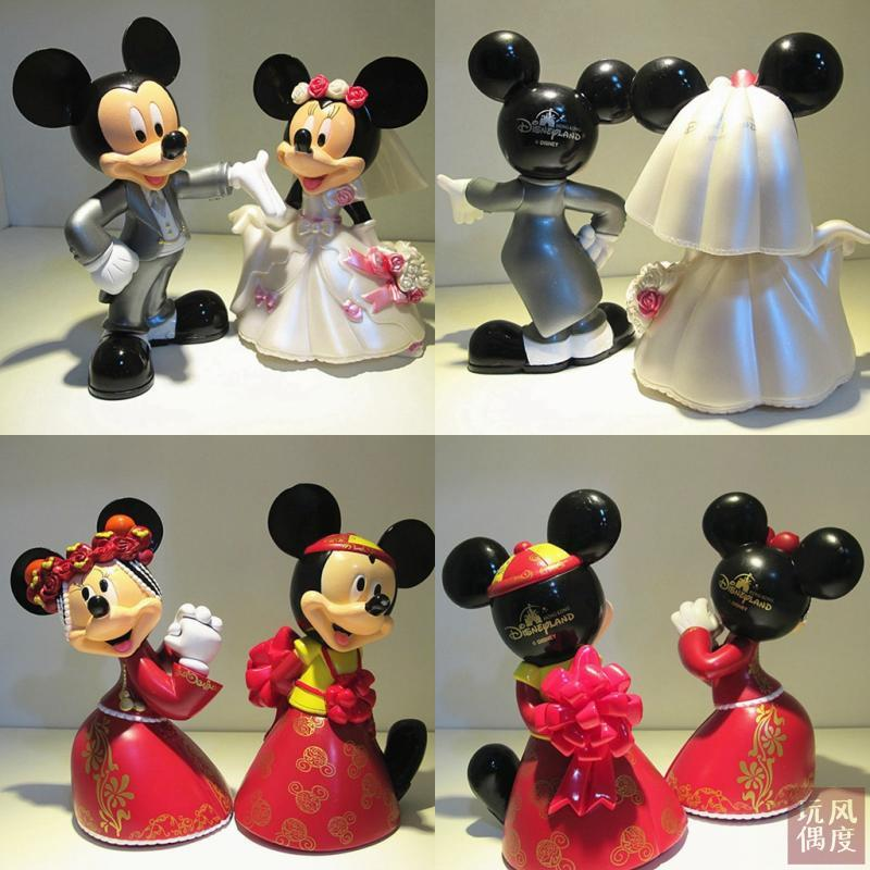 2pcs / set 14cm -17cm 0.7Kg / set Mickey Minnie married doll toys<br>