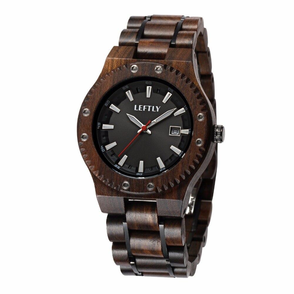 LEFTLY Mens Wooden Watch Quartz Movement Lightweight Wood Luminous Calendar Vintage Analog Wrist Watch<br>