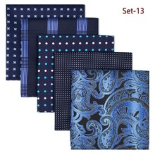 5 Pieces Assorted Mens Pocket Square Fashion  Wedding Silk Handkerchiefs Set Colorful