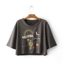 2017 Fashion Women Letter Cactus Embroidery Cotton T-Shirt O-Neck Short Sleeve Casual Summer Crop Tops Brown Girl Tee Shirts