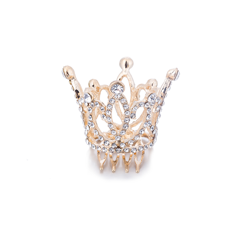 Wedding Hair Accessories Gold Color Mini Round Crystal Rhinestone Tiaras and Crowns Pageant Prom Princess Comb Tiara Crown (2)