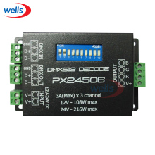Newest PX24506 led controller led DMX 512 Decoder Driver 9A DMX 512 Amplifier for RGB LED strip Light 12V 24V(China)