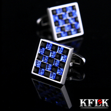 KFLK Jewelry French shirt cufflink mens Brand Blue and Black Crystal Cuff links Luxury Wedding Button High Quality Free Shipping(China)