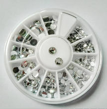 Nail turntable rhinestones clear mix size flat diamond nail jewelry 12 cell turntable nail box  tools circular nail tool