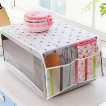 1Pc Romantic Microwave oven cover with 2 pouch dustproof cotton cloth cover romantic style microwave oven set KO896256(China)