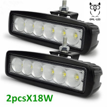 2pcs 18W 12volt 24v DC Tractor Led Work Lights Car Head Auxiliary Fog lamp Daylight Auto led car headlights(China)