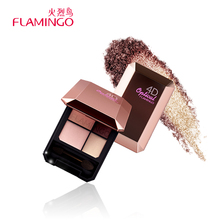 Flamingo Eye Makeup 4 colors Mica Eye Shadow Natural Mineral Pigmentation With Brush & Mirror Metallic Eye Shadow Pallete 568(China)