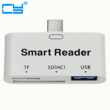 USB 3.1 Type C USB-C to USB 3.0 Female OTG Adapter & TF SD Smart Card Reader for PC Laptop Tablet Free Shipping