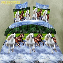 drop shipping 3d horses Bedding Set Duvet Cover Bed Sheet Pillow Cases Bed Linen Set,King/Queen/single xl Size(China)